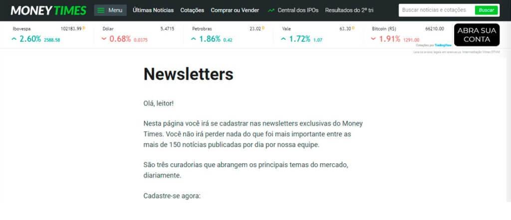 newsletters de economia money times